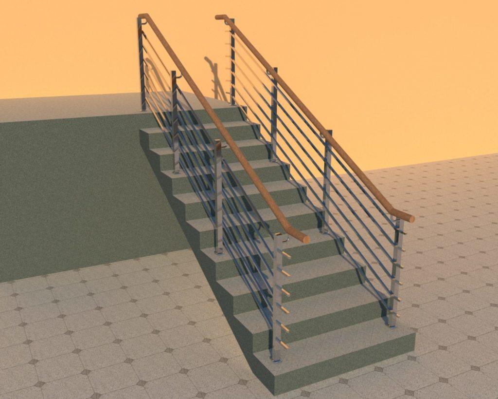 Ограждения нержавеющие перила для лестниц