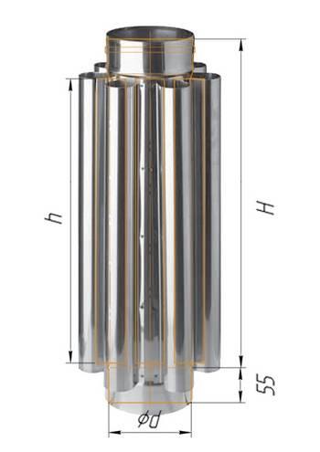 Дымоход конвектор Рэмбо ∅ 115