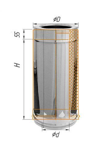 Сэндвич 0,5 м (оцинк.) ∅ 110×200 (430 / 0,5)