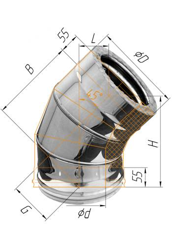 Сэндвич колено 45° (оцинк.) ∅ 100×200 (430 / 0,5)