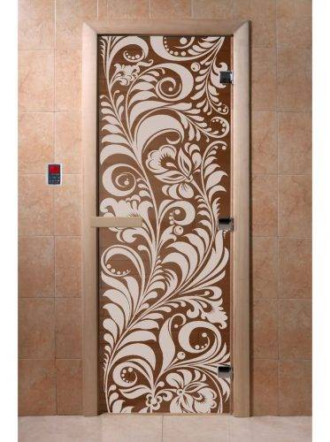Дверь для бани Хохлома, бронза