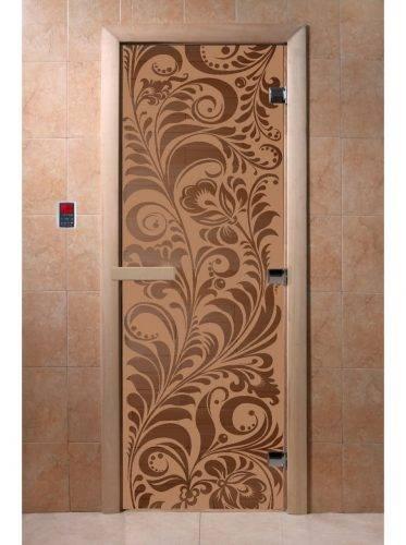 Дверь для бани Хохлома, матовая