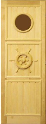 Дверь для бани Штурвал с иллюминатором (липа)